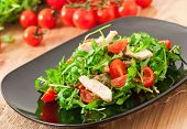 grilled fillet of chicken and a salad of arugula and tomato
