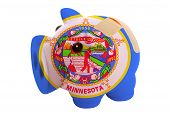 Closed Piggy Rich Bank With Bandage In Colors Flag Of American State Of Minnesota