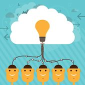 stock photo of lightbulb  - Vector illustration of human head figures connected to a collective large brain of idea - JPG