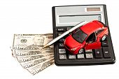 Toy Car, Money And Calculator Over White. Concept For Buying, Renting, Insurance, Fuel, Service And