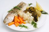 Whole fish with steamed vegetables