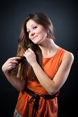 Portrait Of A Lovely Woman In Polka Dot Dress