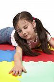 Playing Lady On Foam Carpet