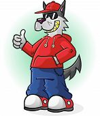 picture of sag  - A big bad wolf punk cartoon character wearing a hoodie and baseball cap and giving a thumbs up - JPG
