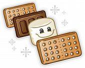 Smores Marshmallow Cartoon Character