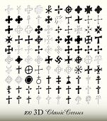 Collection of 100 isolated classic cross in three dimensions (perspective view).