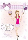 image of sweet sixteen  - Sweet Sixteen Birthday card with young girl - JPG