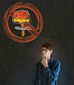 No Nuclear War Pacifist Business Man, Student, Teacher Or Politician On Blackboard Background