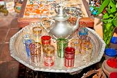 Typical arabian vintage silver teapots with glasses in Cordoba, Spain.