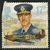 UK - CIRCA 1986: A stamp printed in UK shows image of The Lord Dowding and Hawker Hurricane Mk. I, c
