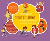 Colorful template for advertising brochure with fashion cartoon young people. Teenagers.