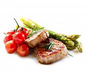 BBQ Steak. Barbecue Grilled Beef Steak Meat with Vegetables. Healthy Food. Barbeque Steak Dinner