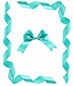 Border Frame card of ribbon bow tape or wavy line on white with copy space for text