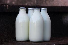 image of milkman  - milk bottles standing on a doorstep after delivery - JPG