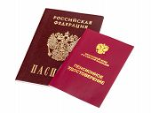 Russian Pension Certificate And Passport Isolated On White Background