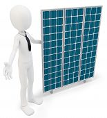 3D Businessman With Solar Panel