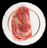 pic of wagyu  - Premium quality ribeye steak oiled and peppered for frying isolated on black - JPG