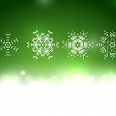 Vector green Christmas card bokeh and snowflakes