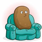stock photo of couch potato  - A couch potato cartoon character blankly staring at the television - JPG
