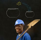 African Black Man Worker With Chalk Jumping Fish Bowls Background