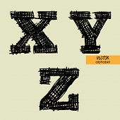art sketched stylized alphabet in vector, black grungy ink font, signs X, Y, Z