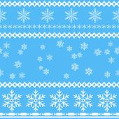 Seamless snowflakes background in rows and scattered on blue.