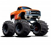 stock photo of monsters  - Vector Cartoon Monster Truck - JPG