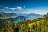 Beautiful View To Lucerne Lake (vierwaldstattersee ) And Mountain Pilatus From Rigi, Swiss Alps
