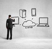Man Drawing Cloud Network