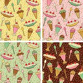 foto of ice cream sundaes  - A seamless pattern of ice cream desserts with cherries and sprinkles in four colorways - JPG