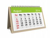 Monthly Calendar For New Year 2014. August