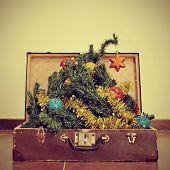 picture of a christmas tree coming out of an old suitcase, with a retro effect