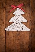 White Wood Rod Christmas Tree Wooden Table