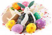 Cute Easter Bunny Rabbit With A Little Wheelbarrow And Eggs