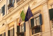 Ec Italy Flags Building Windows Close Up Via Del Balbuno Roman Street Rome Italy