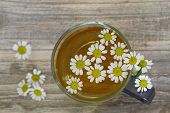 Chamomile tea, chamomile flowers with copy space