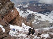 stock photo of aconcagua  - Looking down the Canaleta on the Aconcagua climb - JPG