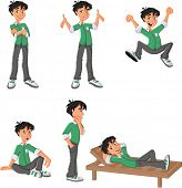 Cartoon boy with green shirt on different poses