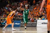 VALENCIA - MAY, 1: Goudelock #30 drives the ball during a Eurocup Finals match between Valencia Bask