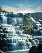 Tropical Rain Forest Landscape With Flowing Blue Water Of Pongour Waterfall