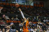 VALENCIA - MAY, 3: Hook shot of Dubljevic during a Spanish league match between Valencia Basket Club