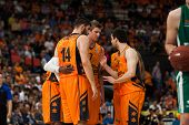 VALENCIA - MAY, 1: Valencia Players talk during a Eurocup Finals match between Valencia Basket Club