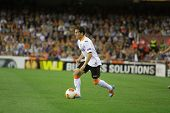 VALENCIA - MAY, 1: Piatti drives the ball during UEFA Europe League semifinals match between Valenci