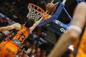 VALENCIA - MAY, 3: Lay-up of Lucic during a Spanish league match between Valencia Basket Club and Bi
