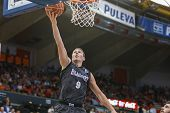 VALENCIA - MAY, 3: Lay-up of Bertans during a Spanish league match between Valencia Basket Club and