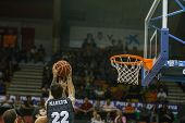 VALENCIA - MAY, 3: Markota #22 gets rebound during a Spanish league match between Valencia Basket Club and Bilbao at the Fonteta Stadium on May 3, 2014 in Valencia, Spain