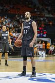 VALENCIA - MAY, 3: Foul shot of Gabriel during a Spanish league match between Valencia Basket Club and Bilbao at the Fonteta Stadium on May 3, 2014 in Valencia, Spain
