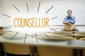 The word counsellor against lecturer sitting in lecture hall