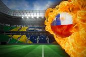 Composite image of fire surrounding chile flag football against large football stadium with brasilia