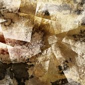 art abstract watercolor background with fabric texture and squares in beige, brown and black colors;
